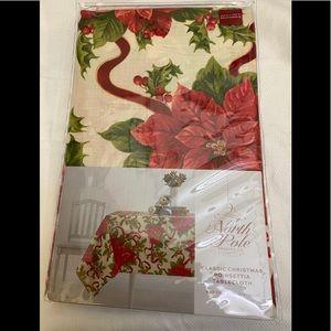 North Pole Classic Christmas Poinsettia Tablecloth